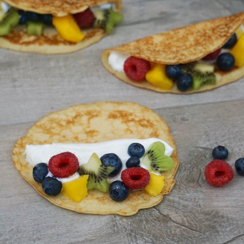 Yogurt and Fruit Pancake Tacos