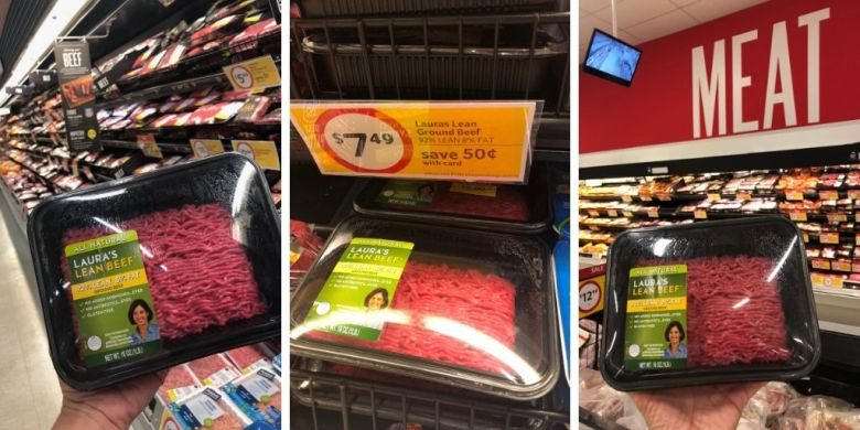 Lauras Lean beef at grocery store
