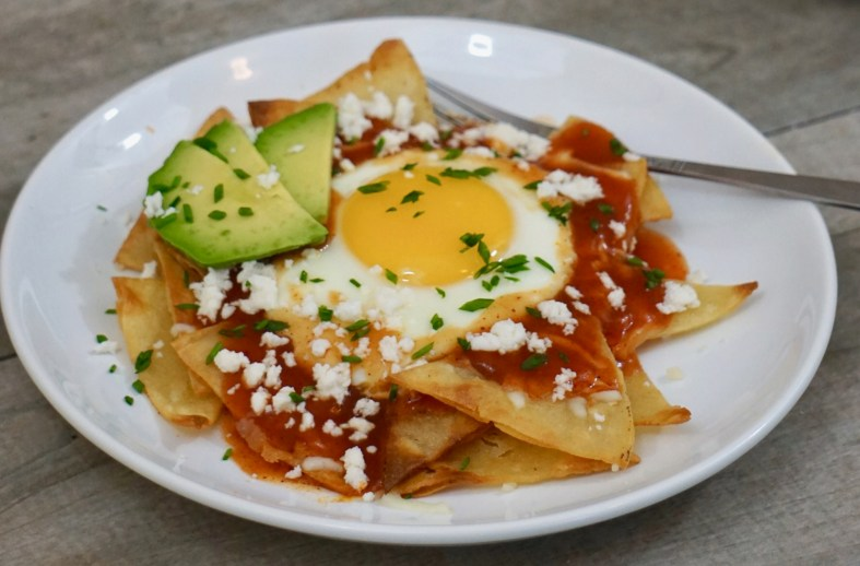 red chilaquiles with fried egg breakfast recipe