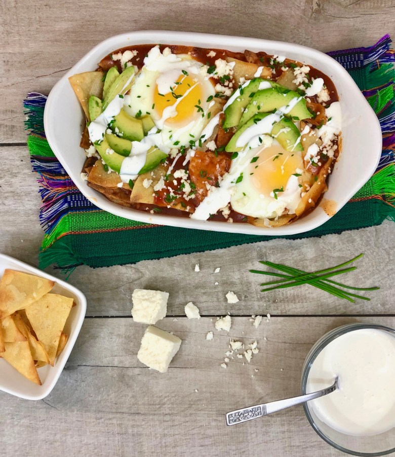 Red chilaquiles brunch casserole