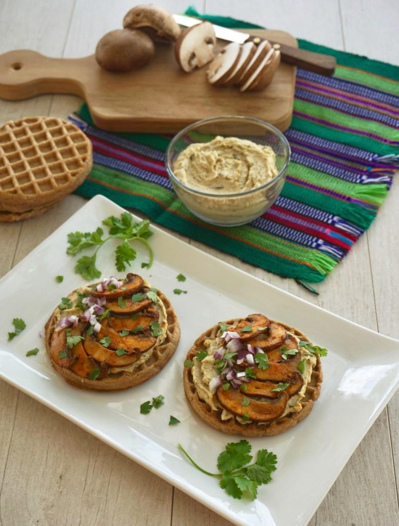 Waffle Hummus Toast with Chipotle Mushrooms