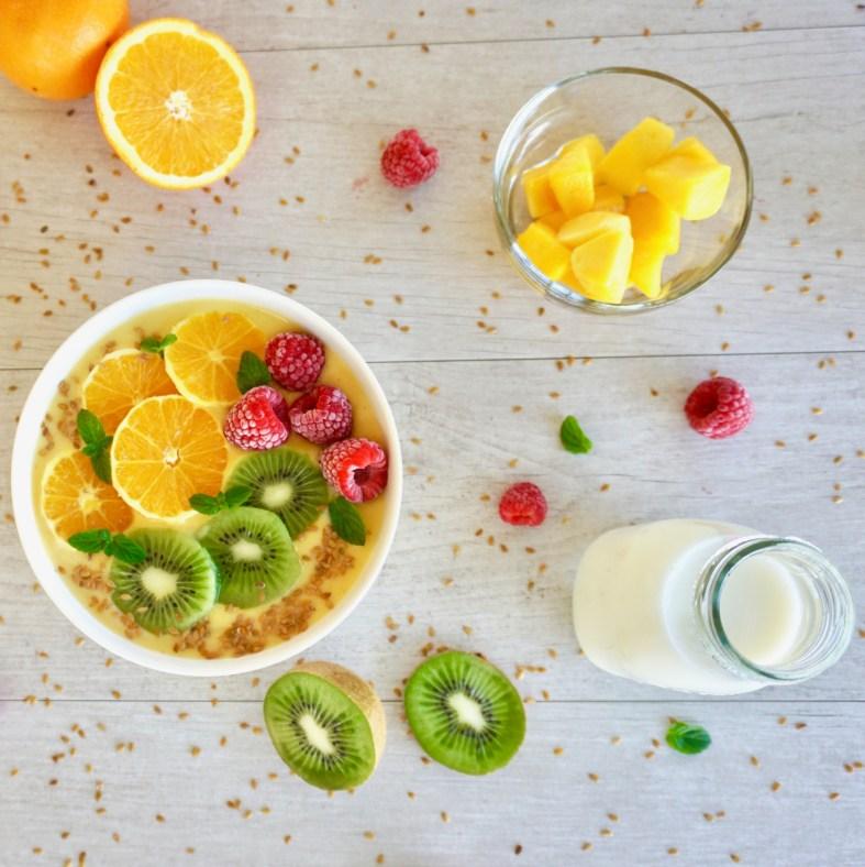 orange and mango protein smoothie bowl