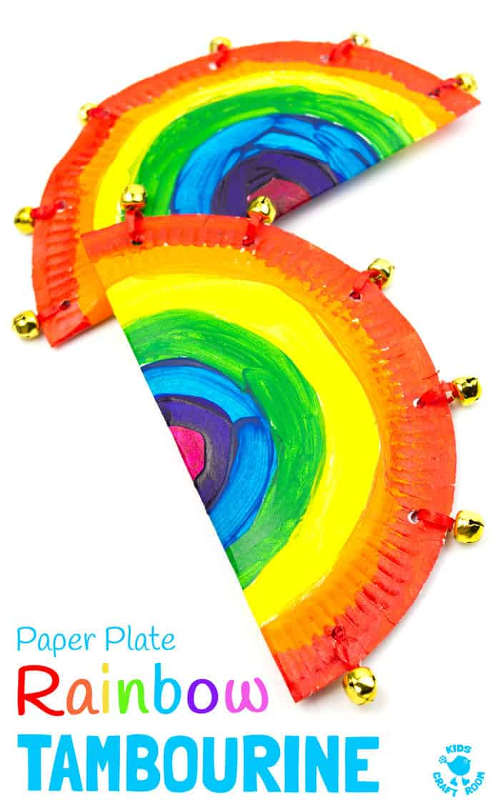 Rainbow Tambourine and other Carnaval crafts for kids