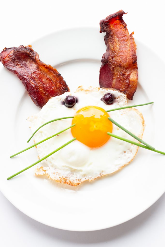 Bacon and egg Easter bunny breakfast