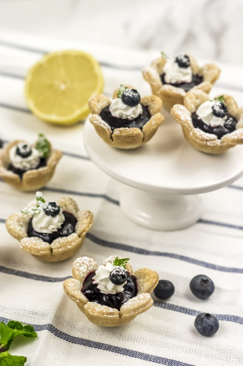 Blueberry flower tarts