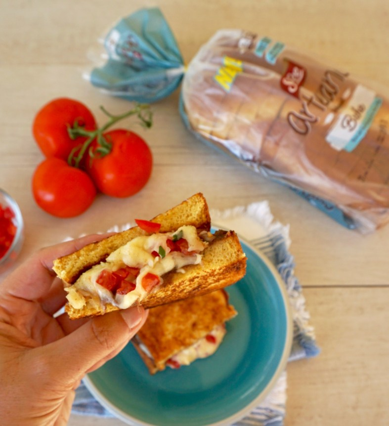 Molletes grilled cheese sandwich