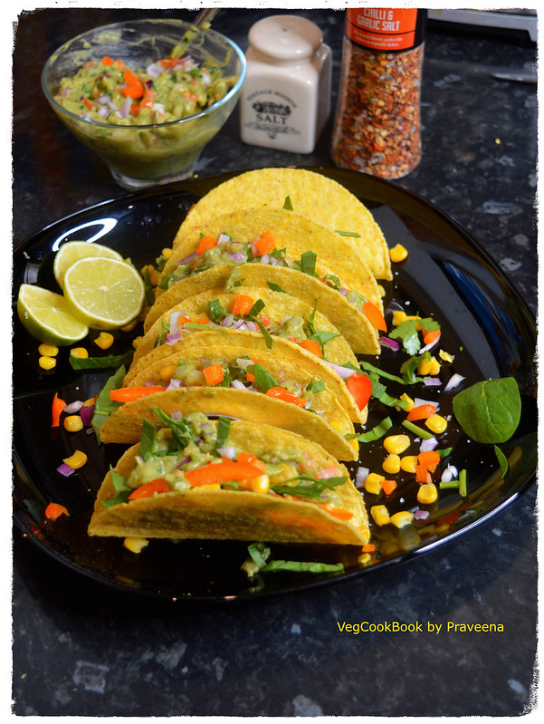 Spinach and Corn Tacos with Guacamole
