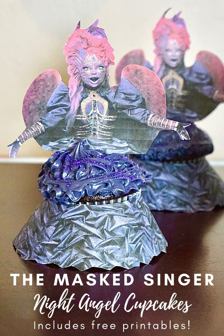 The Masked Singer Night Angel cupcakes with free printables