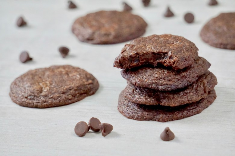double chocolate cookies made with brownie mix