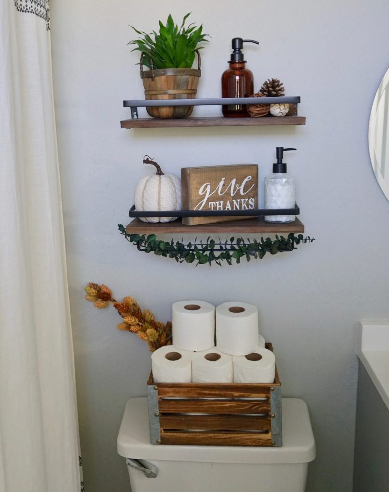 bathroom shelves fall decor ideas