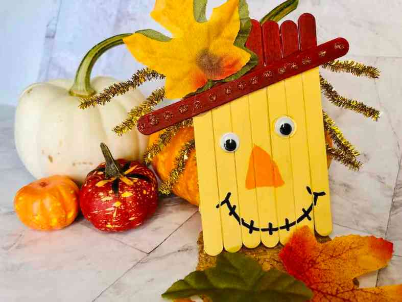Popsicle Stick Scarecrow craft for thanksgiving