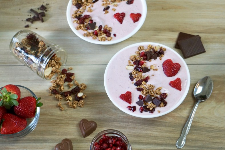 Red Berries and Chocolate Protein Smoothie Bowl