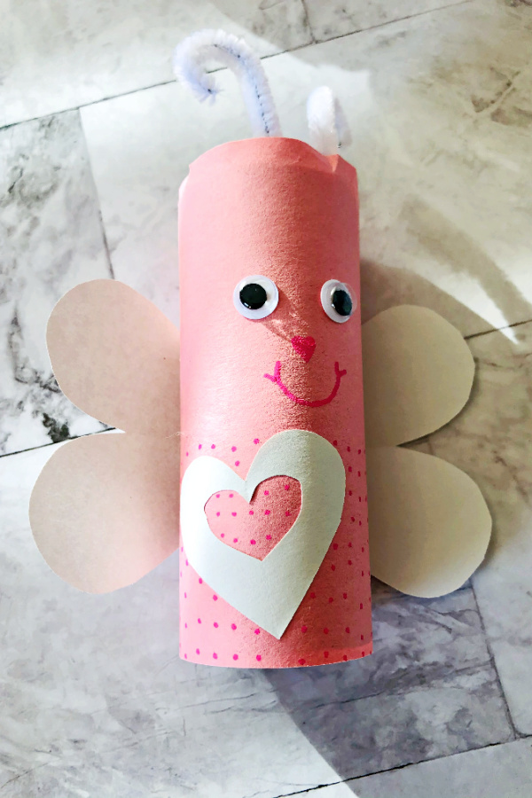 Toilet paper love bug craft