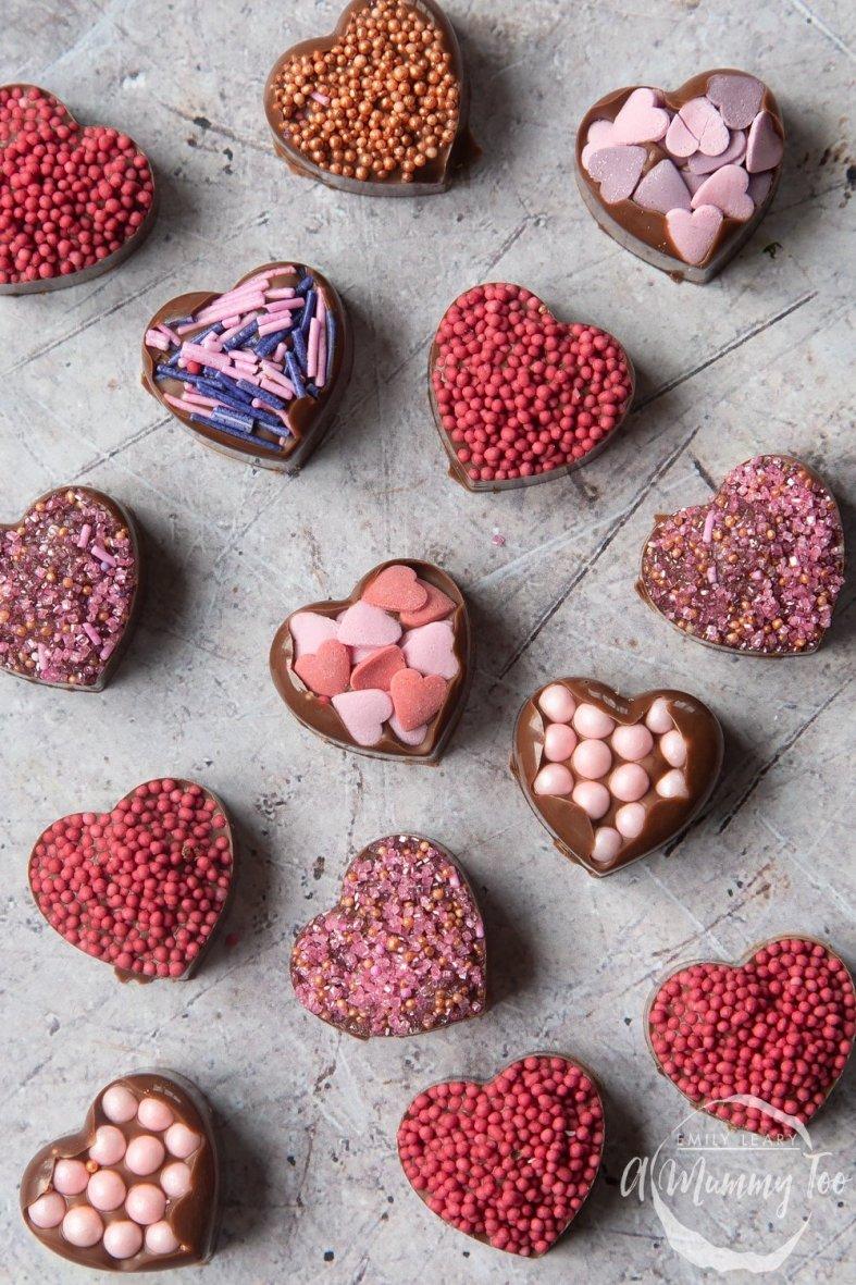 DIY valentines chocolate hearts