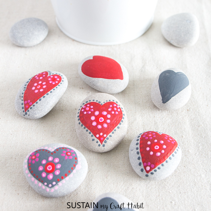 heart painted rocks for Valentines