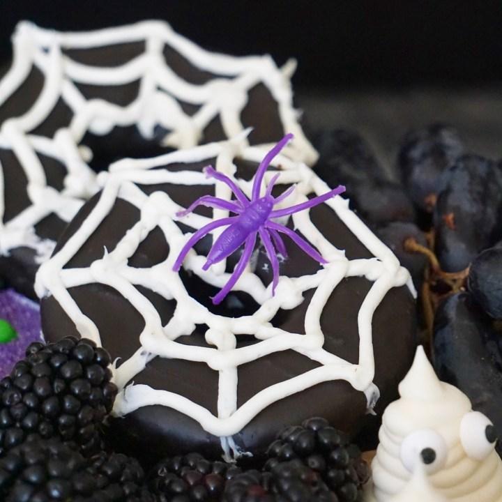 Spider web Halloween donuts