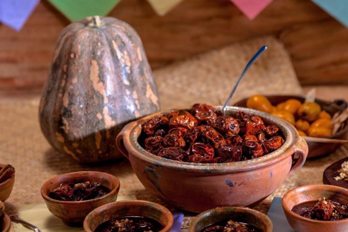 traditional Guatemalan dessert jocotes en miel