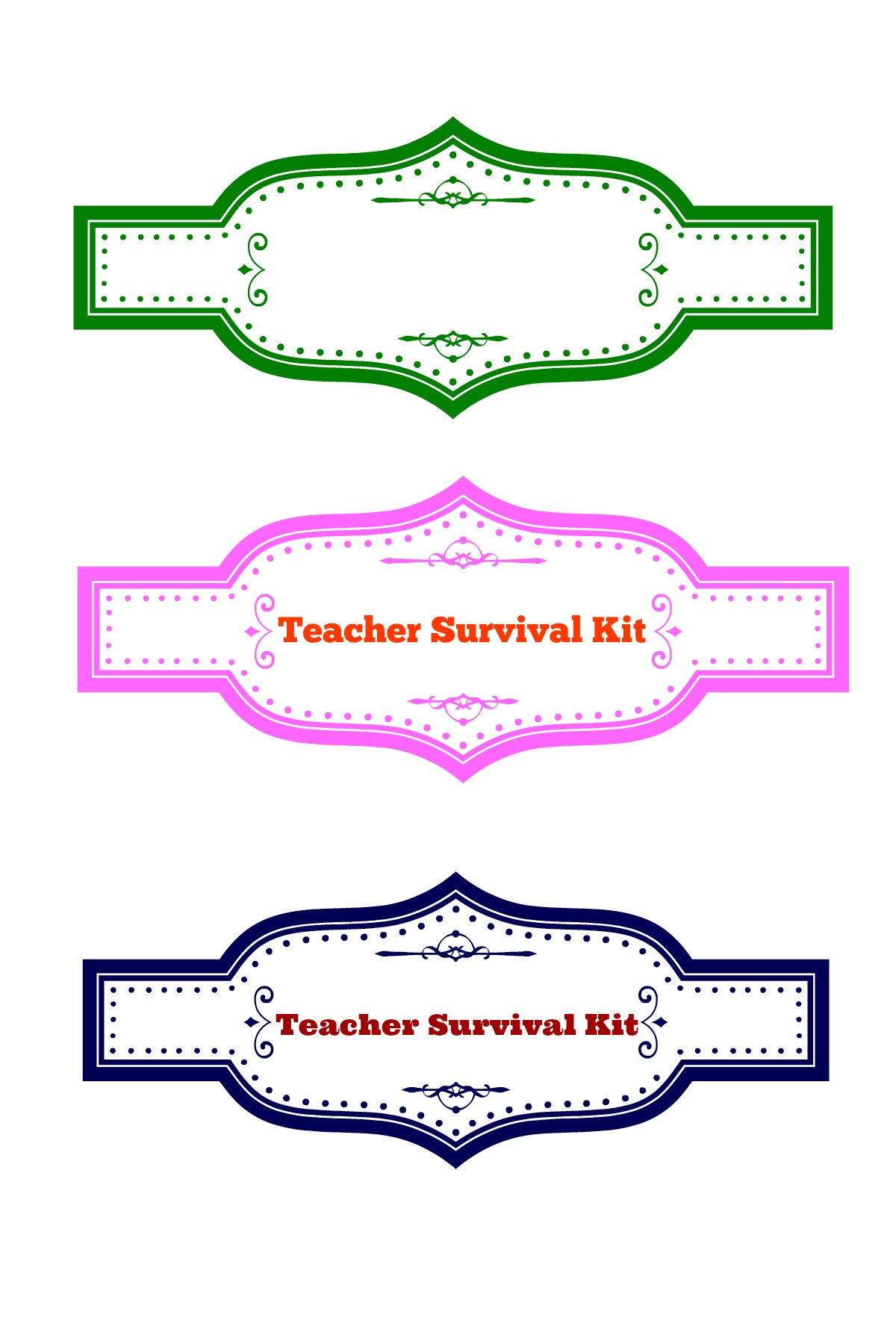 Teacher Survival Kit Printable Label