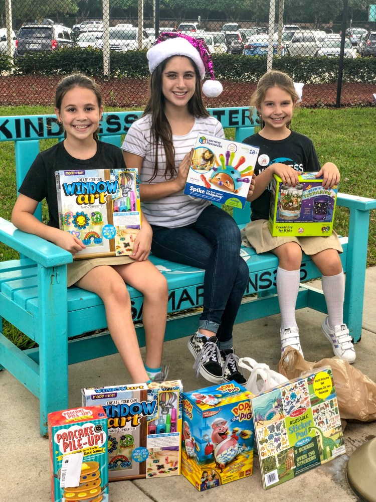 ava claus and friends, ava claus, kids helping kids, kindnessmatters365.org, kindness matters, toy drive, broward children's center, growing up glad, Fierce Female Friday, Girl Power, 2018,