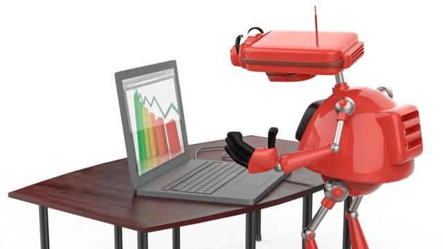 Robot using a laptop to automate savings