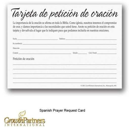 spanish prayer request card