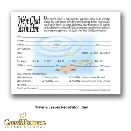 water and leaves visitor registration card
