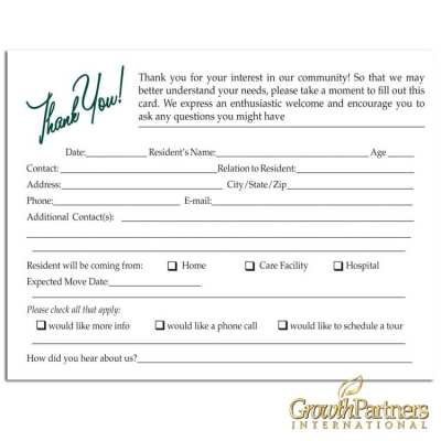 visitor registration cards for assisted living facilities
