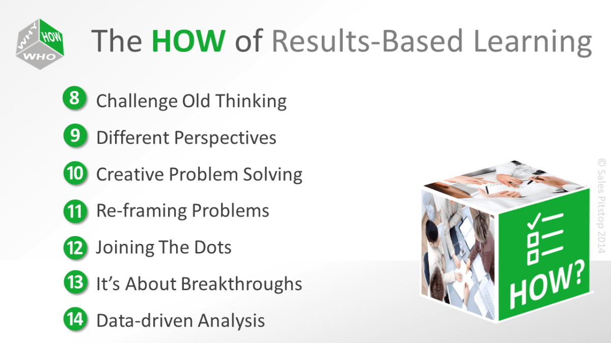 The results based learning approach applied to sales