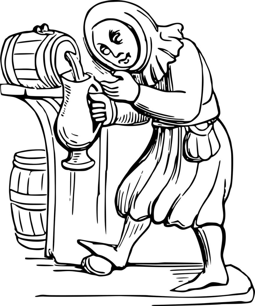 Peasant pouring himself some ale