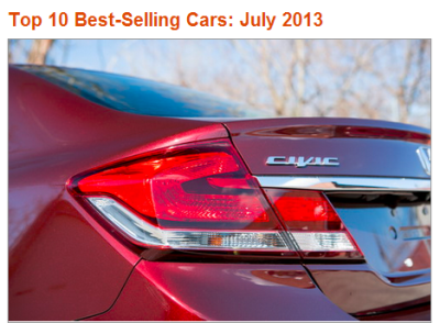 Cars.com KickingTires Best-Selling Cars: July 2013