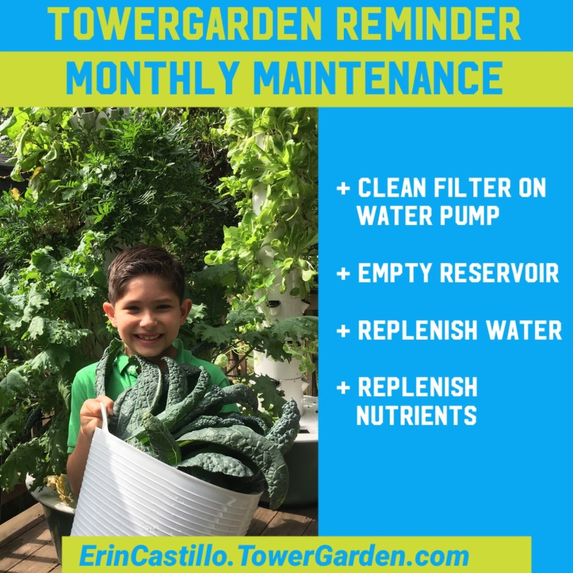 Tower Garden Monthly Maintenance Reminder
