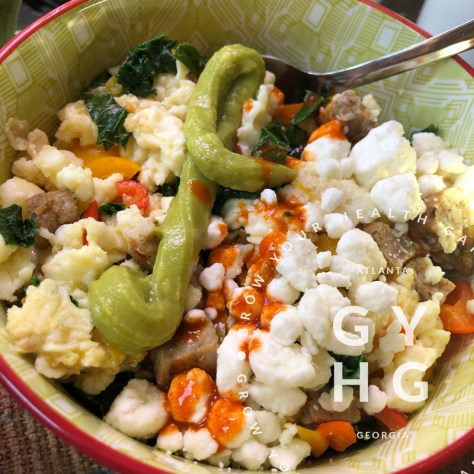 Egg White Scramble with Kale + Sweet Peppers + Chicken Sausage + Goat Cheese