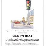 Certyfikat Ambasador Bezpieczeństwa