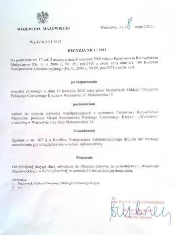 Grupa Ratownictwa PCK Warszawa jednostką współpracującą z systemem Państwowego Ratownictwa Medycznego