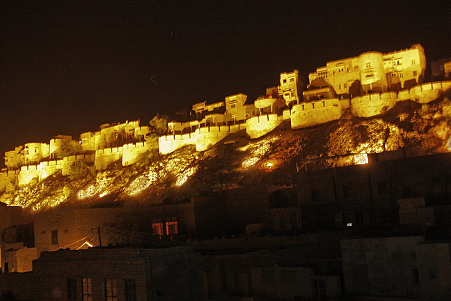 Jaisalmer walled fort at night