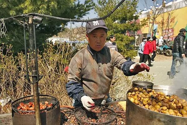 Cheongdo bull festival, korean nut seller, korean food seller, Korean snacks, popular Korean festival snacks