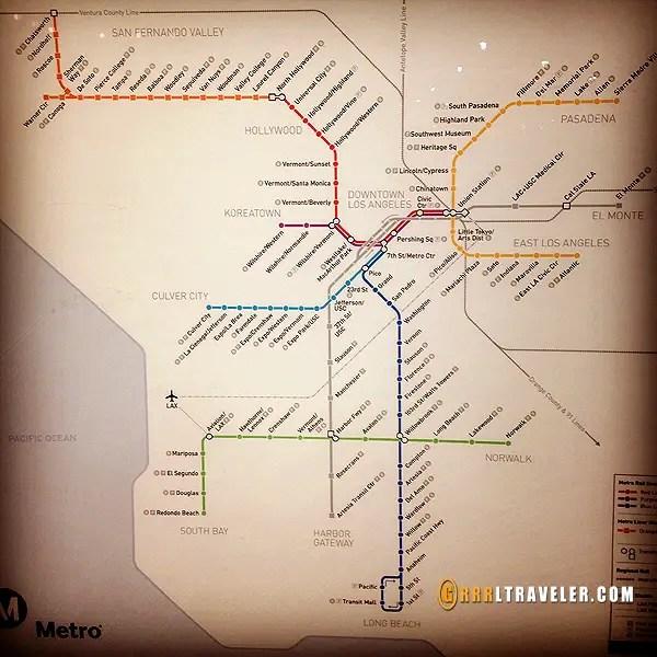LA metro map, los angeles subway only map