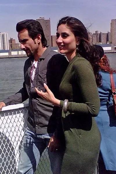 saif and kareena in new york filming