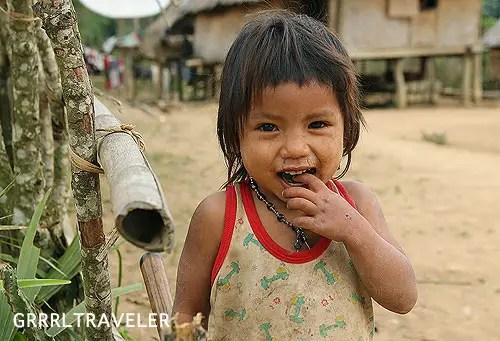 trekking in laos, khmu village laos