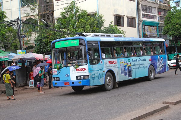 getting around in yangon, how to catch the bus in myanmar, getting around in myanmar, bus transportation in yangon, how to catch the local bus in asia,
