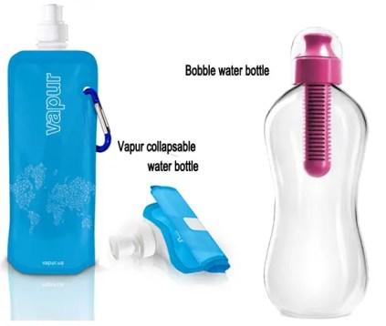 vapur water bottle, bobble water bottle, travel water bottles, recyclable water bottles, eco friendly travel gadgets, best travel gadgets for 2014