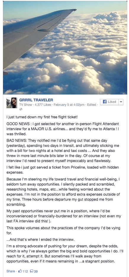 Grrrltraveler fb flight attendant