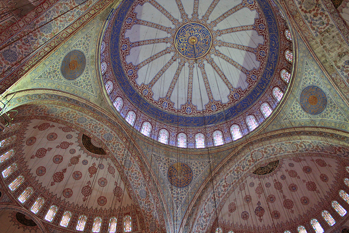 blue mosque ceiling, blue mosque istanbul