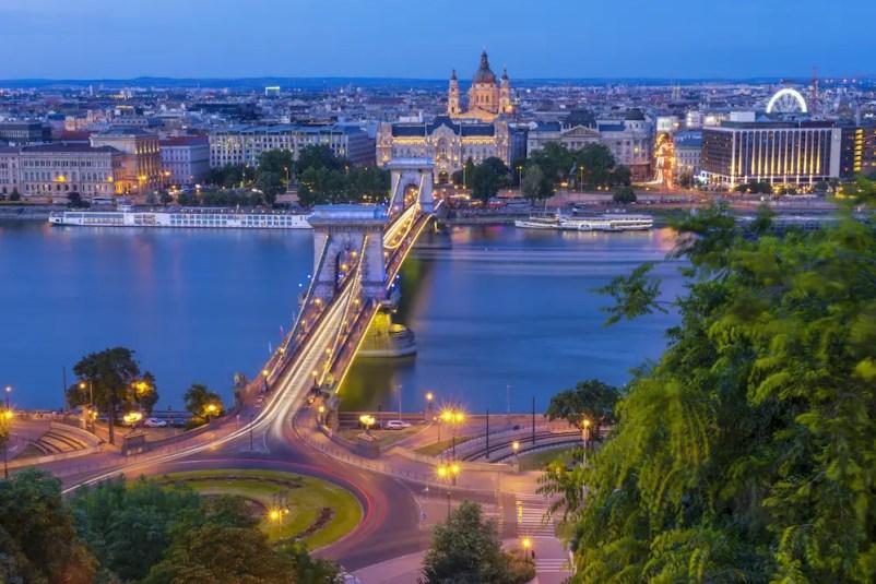 Budapest Chain Bridge River and Basilica View