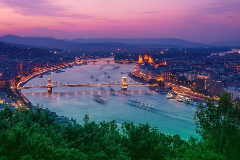 budapest travel guide, Sunset Over Budapest from Citadel