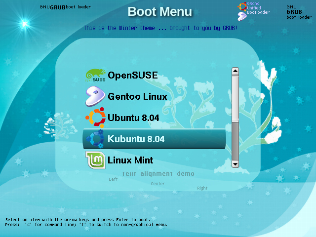 Winter theme showing boot menu