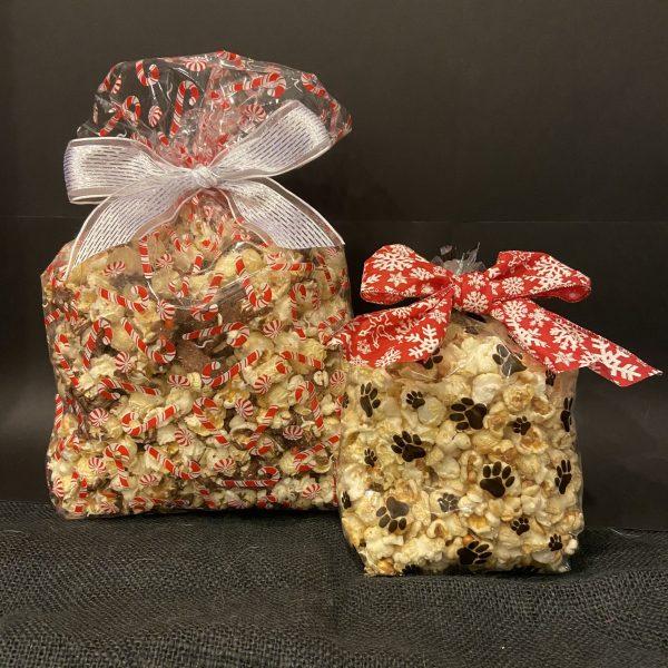chocolate popcorn in christmas popcorn printed bags