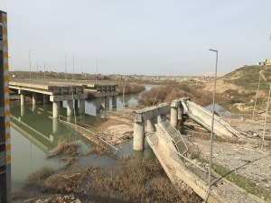 ISIS-destroyed the bridge on our right so we went over the Peshmerga-built replacement to get to the army base.