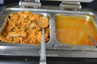 Chicken Dum Biryani (L) and Goan Prawn Curry (R)