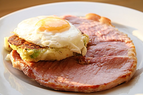 Gammon, eggs and bubble and squeak
